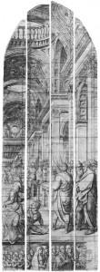 Carton van het negende glas getekend door Lambert van Noort en uitgevoerd door Digman Meynaert.