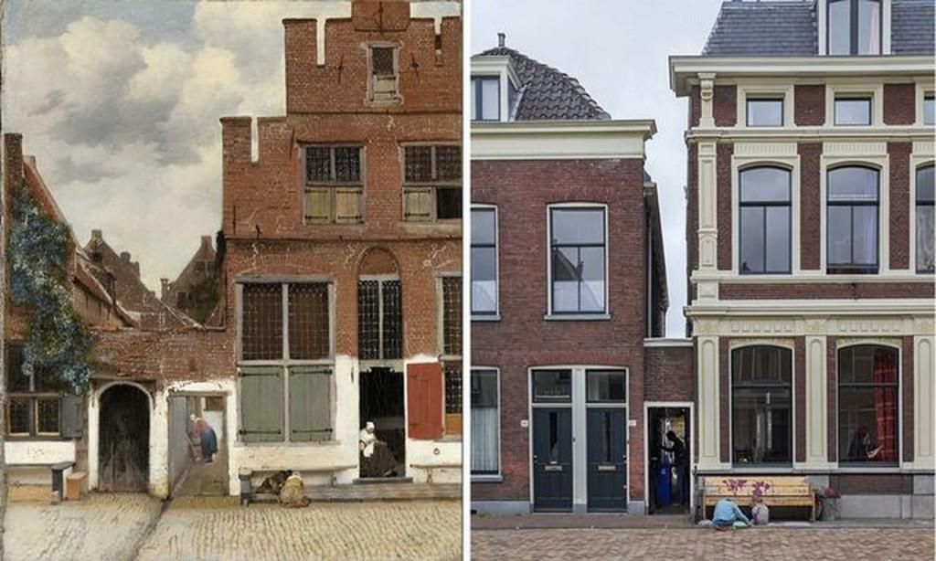 Het straatje van Vermeer toen en nu (foto Rijksmuseum Amsterdam)