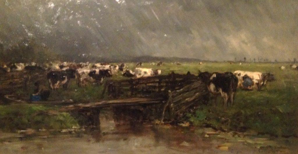 Regenbui nabij Gouda,1885-1890, van Willem Roelofs is een van de weinige schilderijen waarop het regent.