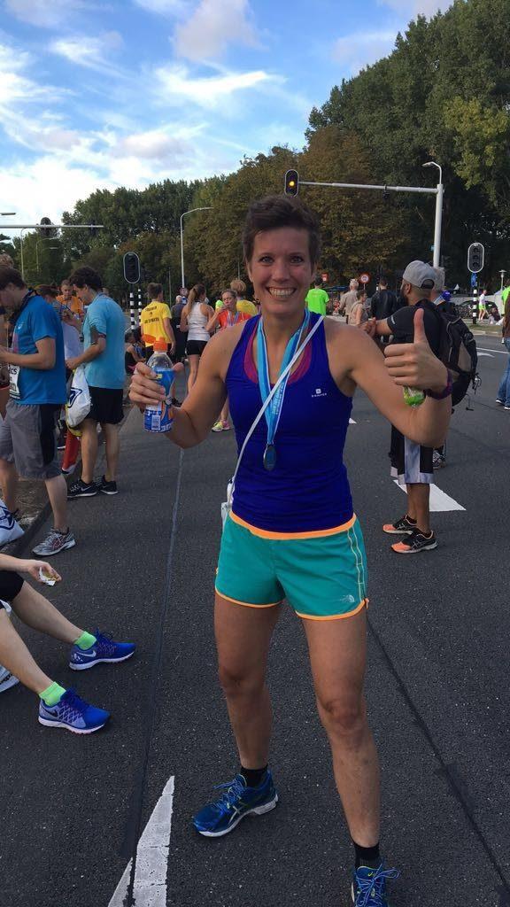 Eva na de finish van Dam2Dam 2016.
