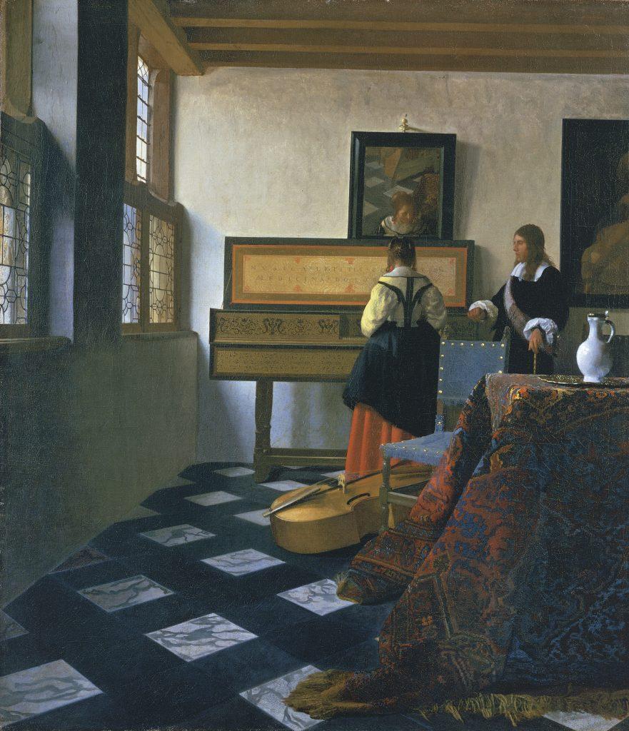 De muziekles van Johannes Vermeer, de Vermeer met een foutje, uitgeleend door de Engelse koningin aan het Mauritshuis voor Hollanders in huis. Royal Collection Trust / © Her Majesty Queen Elizabeth II 2016