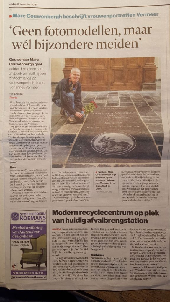 AD artikel over het e-book De meiden van Vermeer achterna van Marc Couwenbergh.