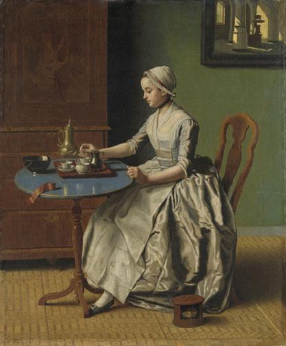 Hollands meisje aan het ontbijt Jean-Etienne-Liotard-(1702-