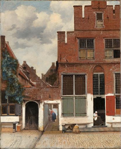 'Het straatje' van Johannes Vermeer: de idylle van het vredige leven in een Hollandse stad met spelende kinderen op de stoep voor het huis, terwijl (groot)moeder in de deuropening zit te handwerken en toezicht houdt. Johannes Vermeer 385 jaar.