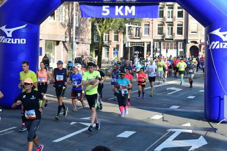 Mijn eerste marathon, Amsterdam 15 oktober 2017, bij het 5 kilometerpunt.