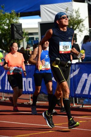 Mijn eerste marathon, Amsterdam 15 oktober 2017, Marc Couwenbergh 3707 vlak voor de finish.