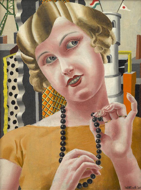 Kralenmeisje geschilderd door Carel Willink in 1925 en waarvoor zijn eerste vrouw Mies van der Meulen model stond.
