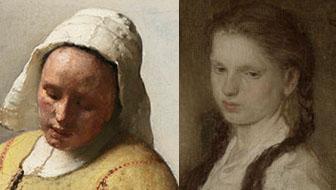 Links Het melkmeisje van Johannes Vermeer (1658) versus rechts Het keukenmeisje van Matthijs Maris (1871).