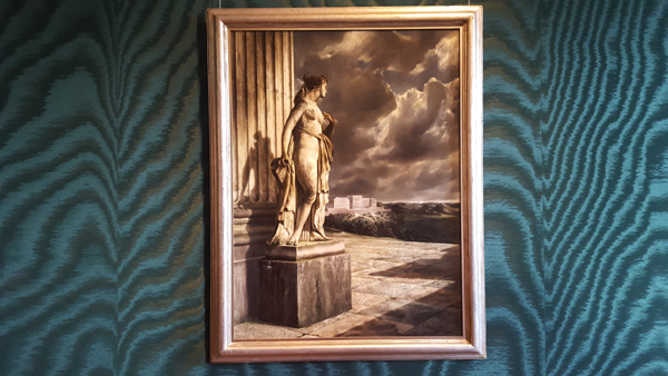 Statue bij lustslog uit 1935 van Carel Willink. Op dit schilderij verschijnt voor het eerst de dreigende wolkenlucht, welke een kenmerk werd voor Willink.