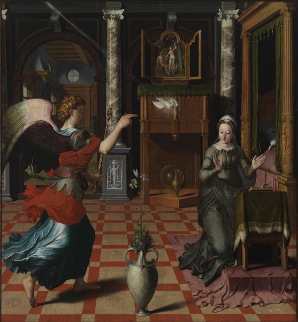 Pieter Pourbus Meester-schilder uit Gouda. De verkondiging aan Maria van Pieter Pourbus uit 1552. Het schilderij was bestemd voor de grafkapel van Margaretha van Oostenrijk in opdracht van keizer Karel V. Foto Museum Gouda