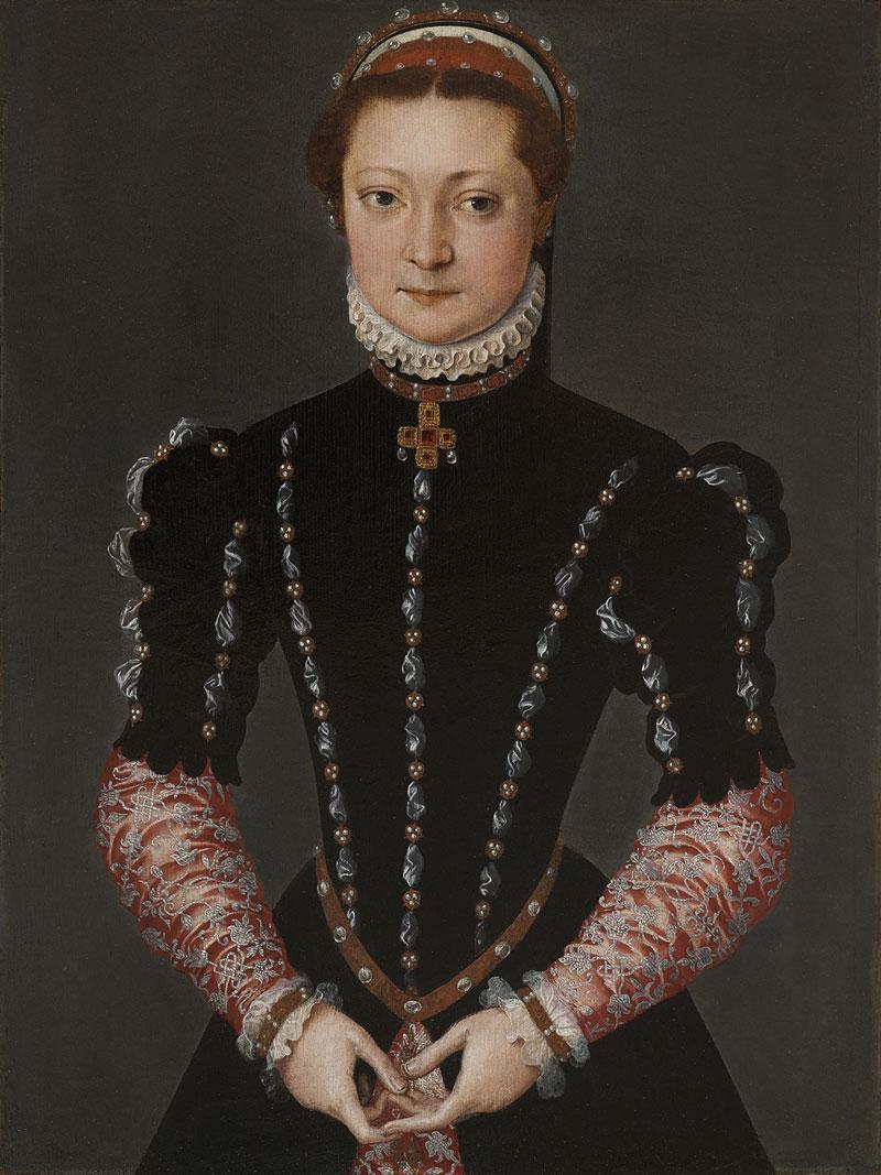 De Mona Lisa van Pieter Pourbus, portret van een onbekende vrouw uit 1554. In de letterlijk schitterende verfijning is de hand van Pieter Pourbus (1523/24-1584) meester-schilder uit Gouda te herkennen. Foto Museum Gouda