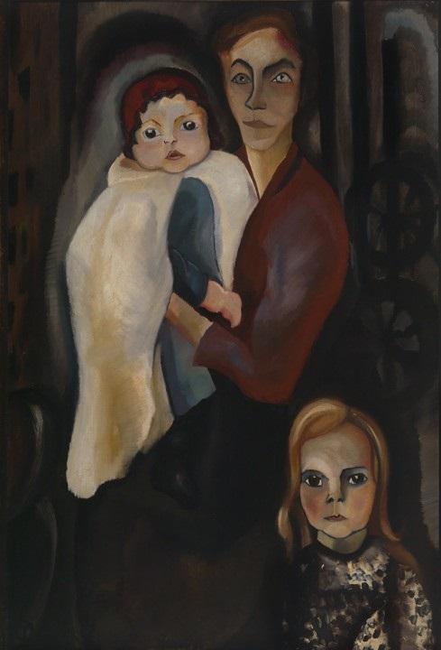 Topstuk uit de tentoonstelling Vrouwen van Museum Gouda: Arbeidersvrouw met twee kinderen van Charley Toorop uit 1918, collectie Museum Gouda